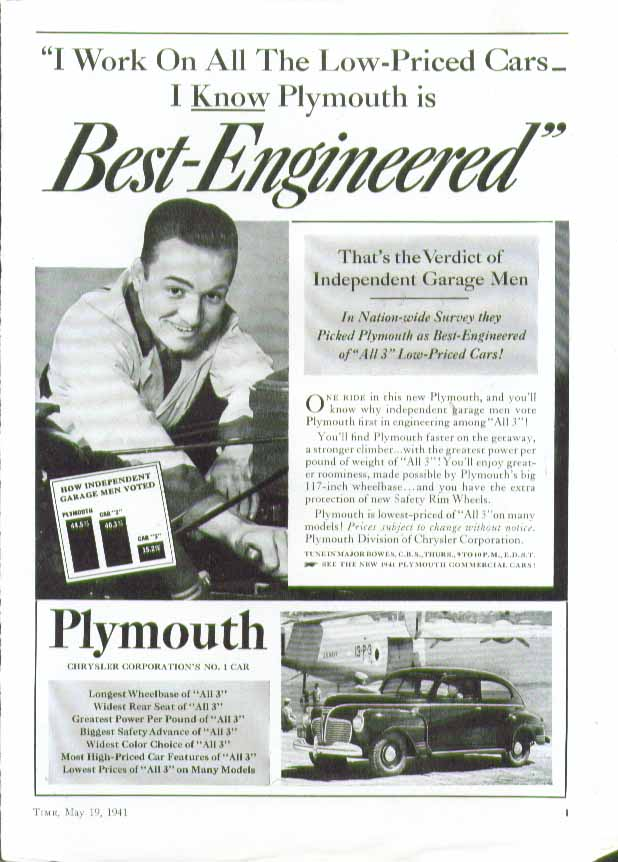 Image for I work on all Low-Priced Cars - I know Plymouth is Best-Engineered! Ad 1941
