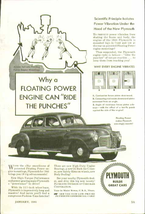 Image for Why a Floating Power Engine can ride with the punches Plymouth ad 1941