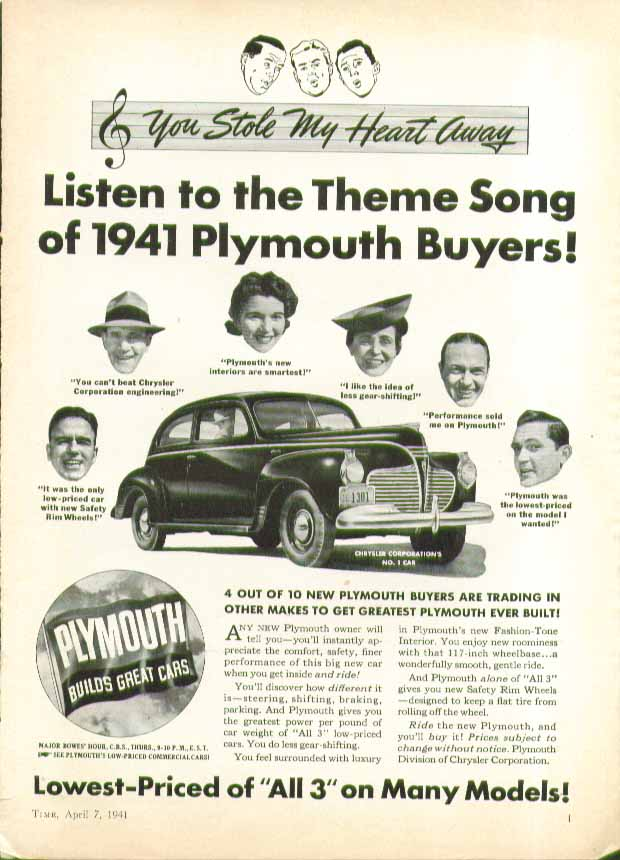 Image for Listen to the Theme Song of 1941 Plymouth Buyers! Ad Time 4/7 1941