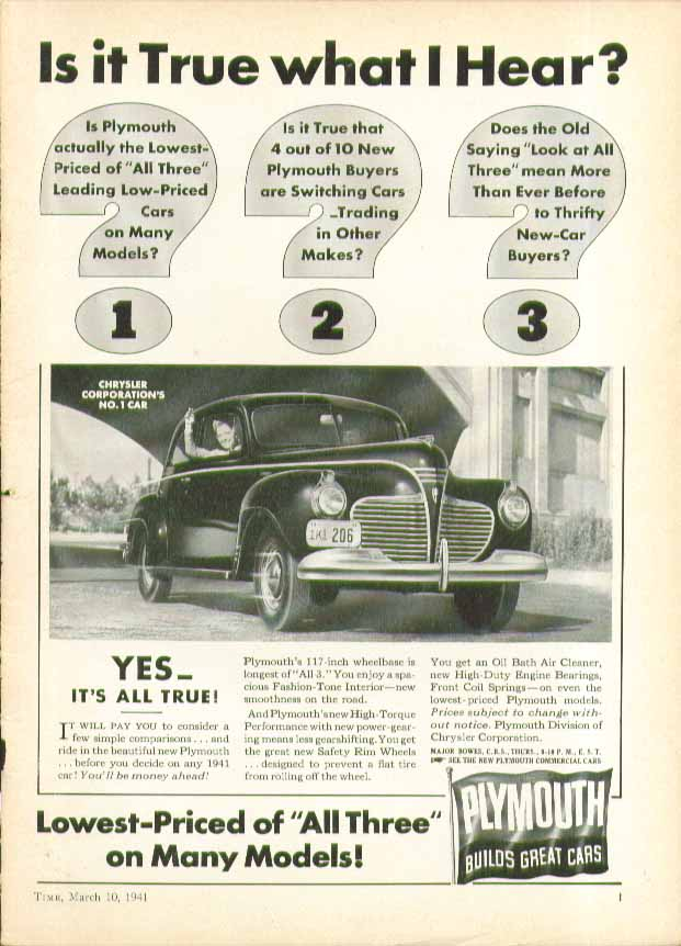 Image for Is it True what I Hear? Yes - It's all True! Plymouth ad 1941