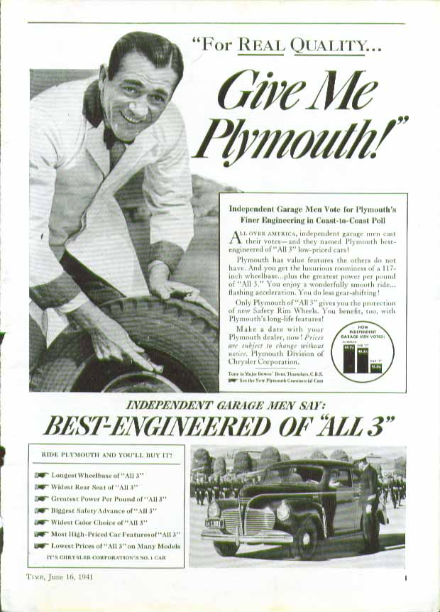 Image for For real quality - Give Me Plymouth! ad 1941