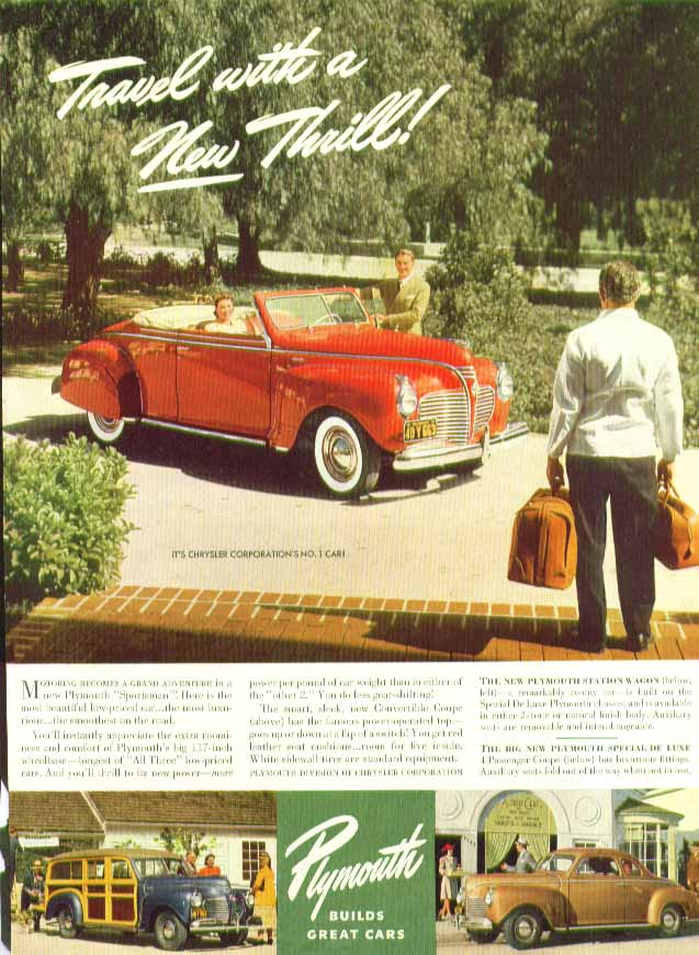 Image for Travel with a New Thrill! Plymouth Convertible Coupe & Station Wagon ad 1941