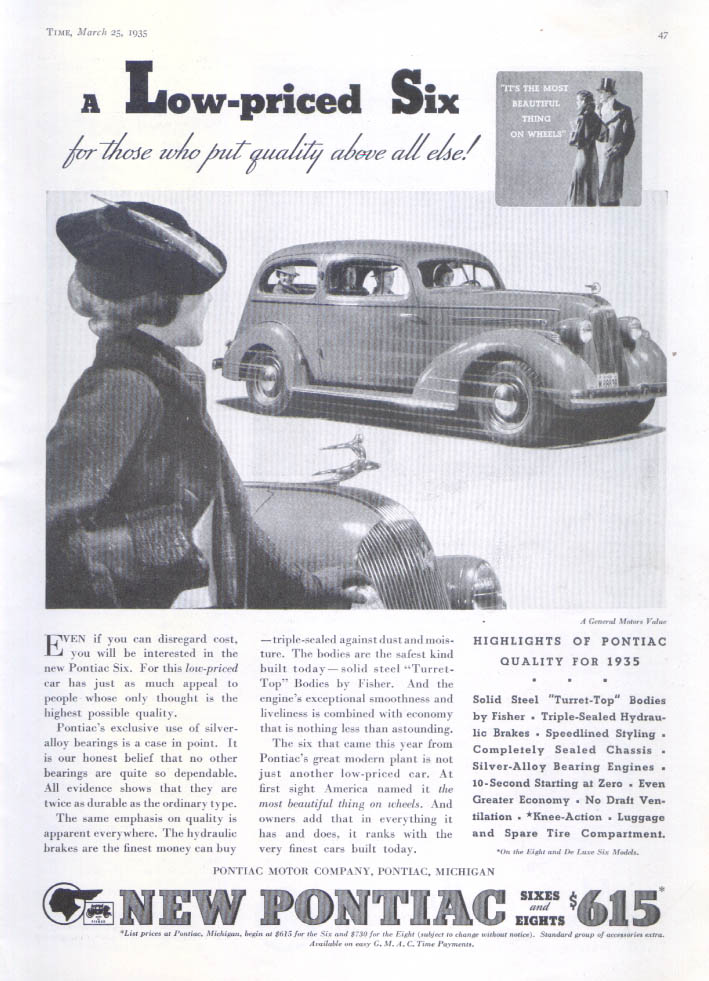 A low-priced six quality above all else Pontiac ad 1935