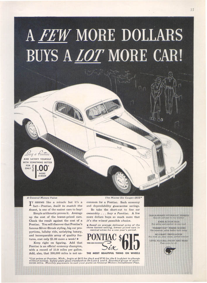 A few more dollars a lot more car Pontiac ad 1936