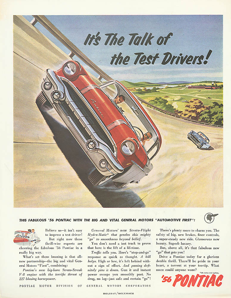 It's the Talk of the Test Drivers! Pontiac ad 1956