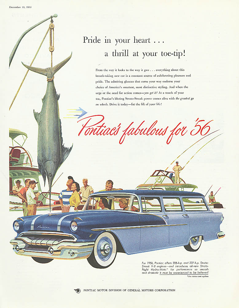 Pride in your heart thrill at toe-tip Pontiac ad 1956