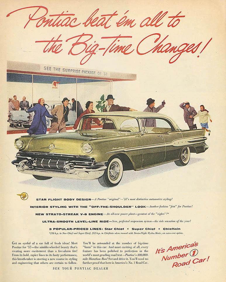 Pontiac beat 'em all to Big-Time Changes ad 1957