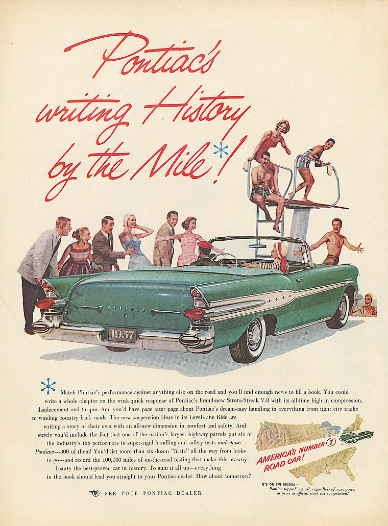 Writing History by the Mile Pontiac convertible ad 1957