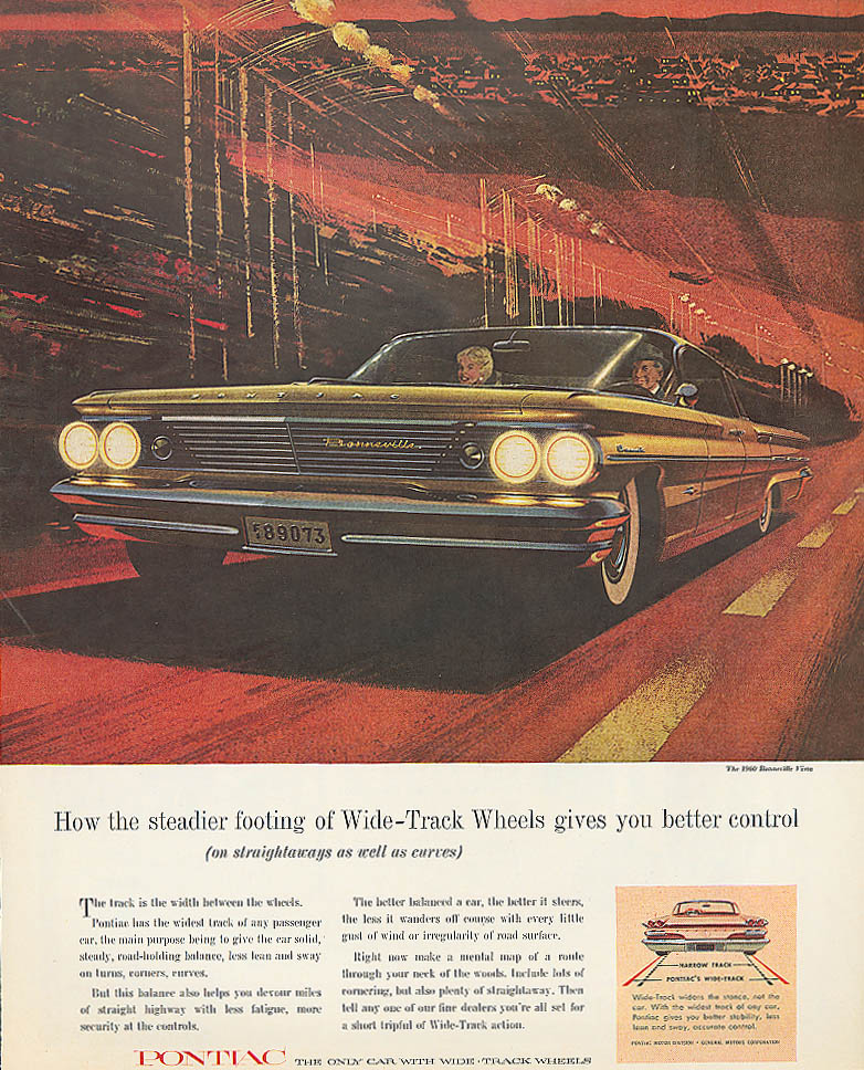 How the steadier footing of Wide-Track Pontiac ad 1960