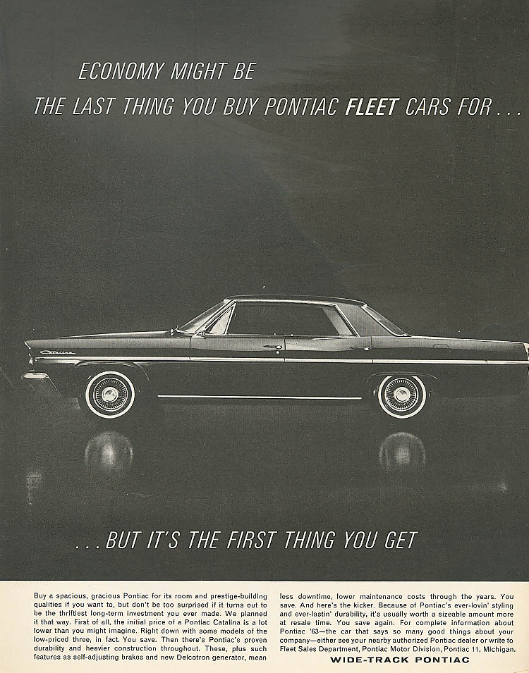 Economy might be the last thing Pontiac ad 1963