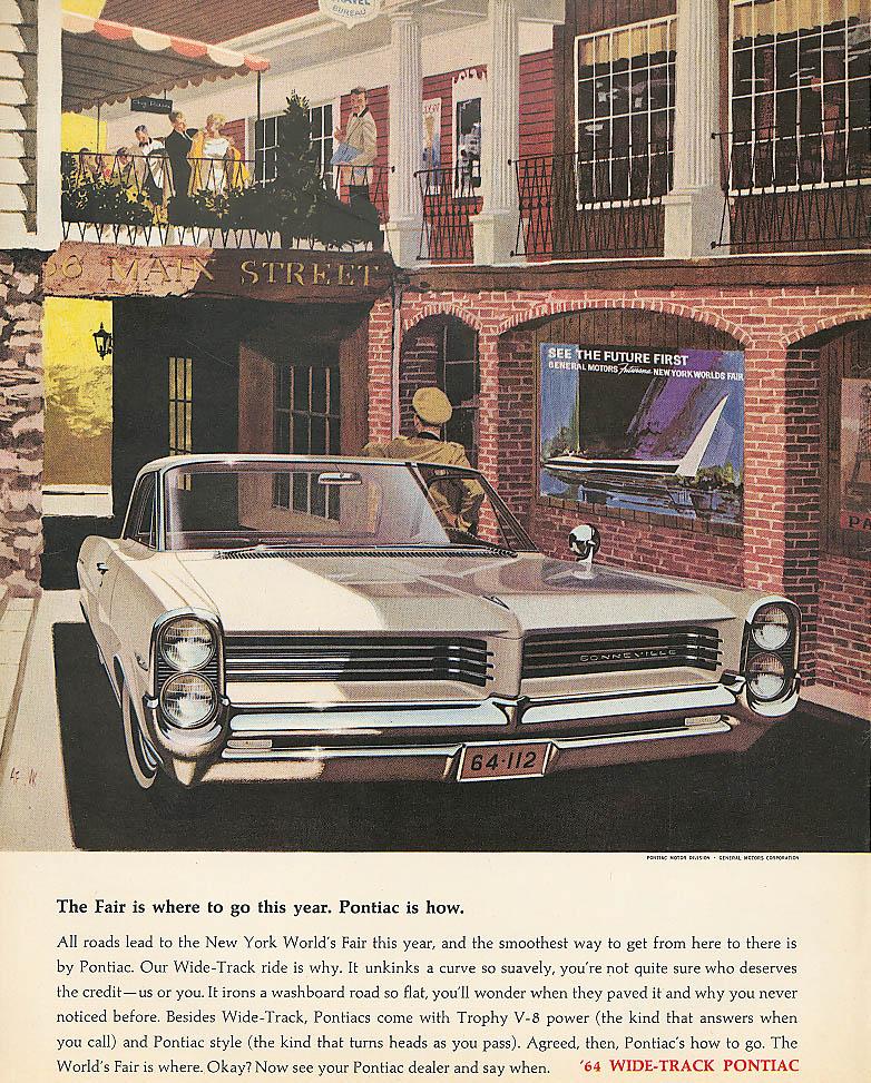 The Fair is where to go Pontiac is how. ad 1964