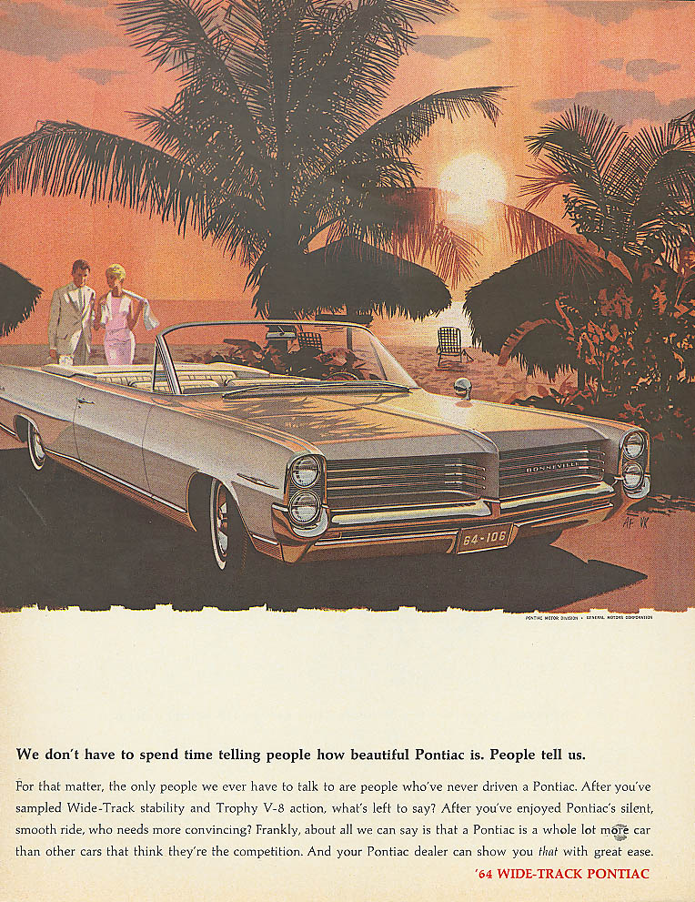 You don't have to spend time telling Pontiac ad 1964