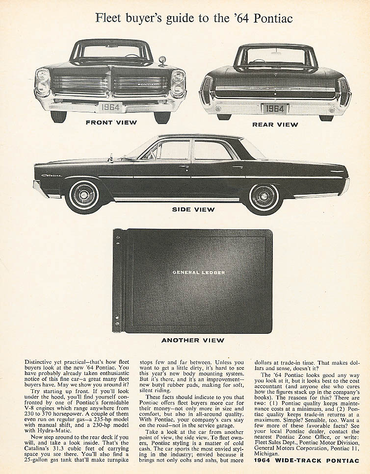 Fleet buyer's guide to the 1964 Pontiac ad