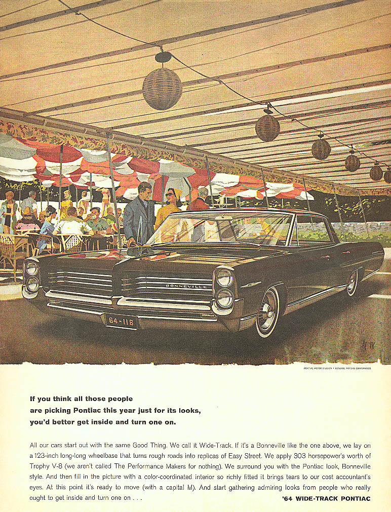 Get inside and turn one on Pontiac ad 1964