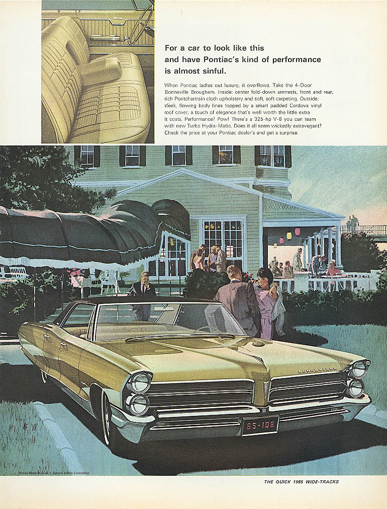 Image for For a car to look like this is sinful Pontiac ad 1965