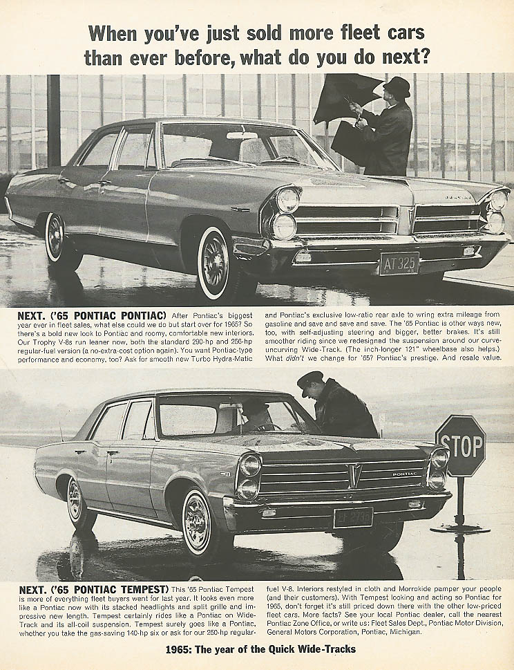 When you've sold fleet cars Pontiac & Tempest ad 1965