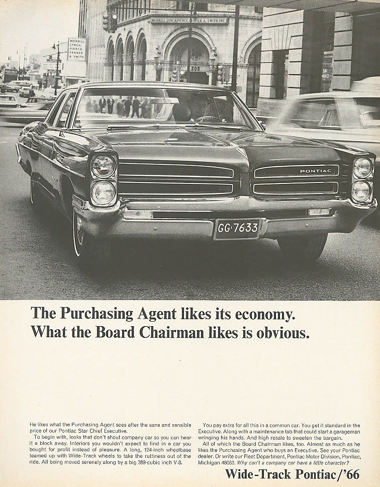 Image for The Purchasing Agent likes economy Pontiac ad 1966
