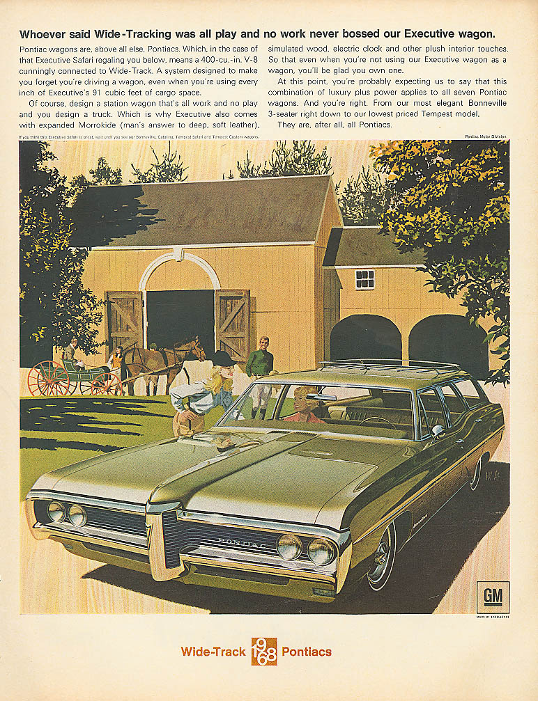 Whoever said Wide-Tracking was all play Pontiac ad 1968
