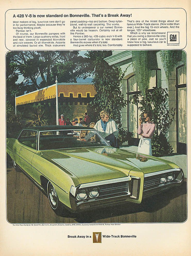 A 428 V-8 now standard on Bonneville Pontiac ad 1969