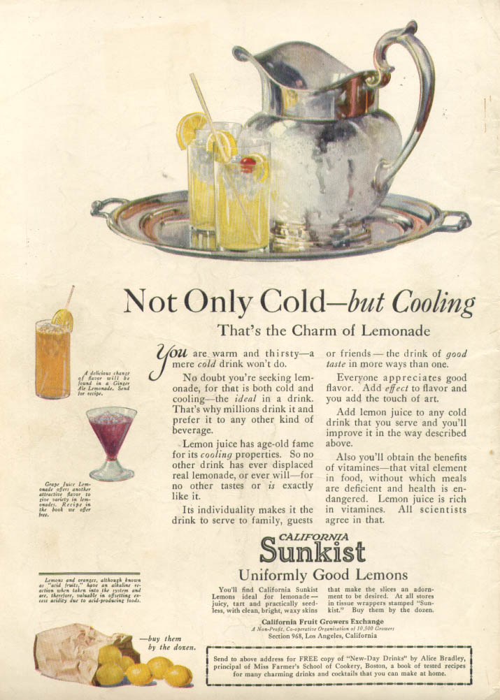 Image for Not Only Cold - but Cooling Sunkist Lemonade ad 1922
