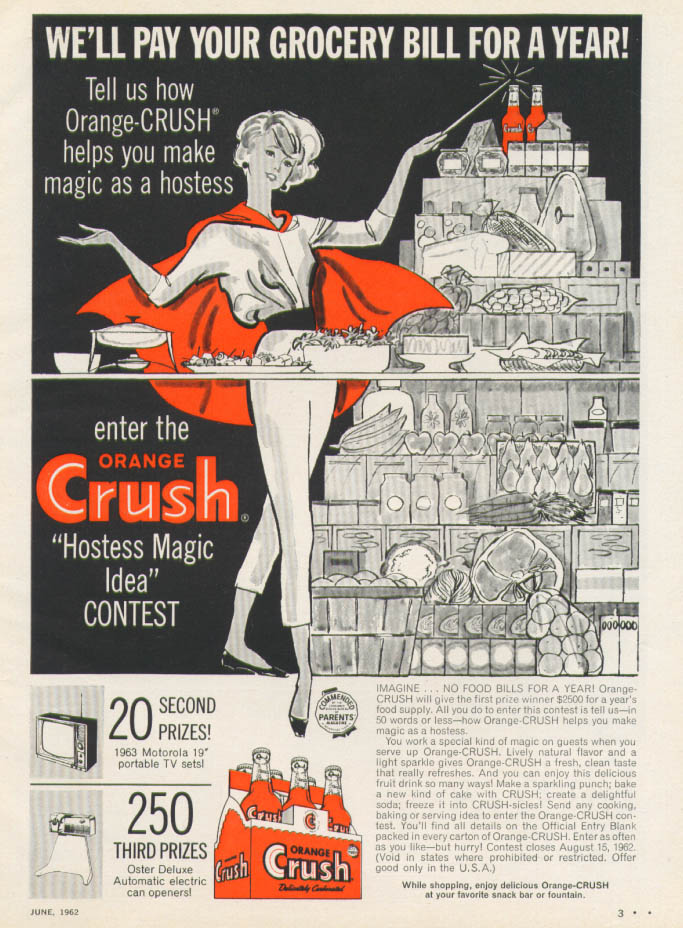 Image for We'll pay your grocery bill Orange Crush Contest ad '62