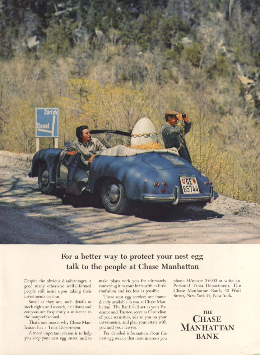 1956 Porsche Carrera in Chase Manhattan Bank ad 1957