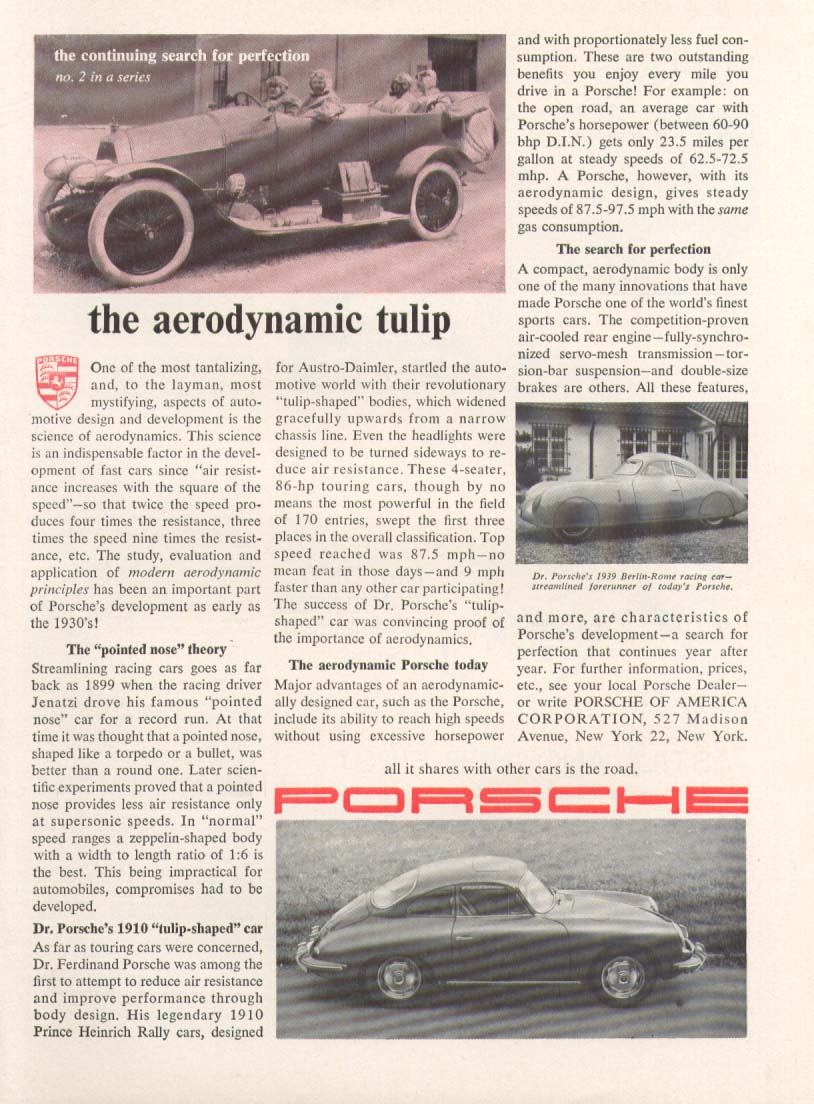 Image for Porsche aerodynamic tulip search for perfection ad 1962