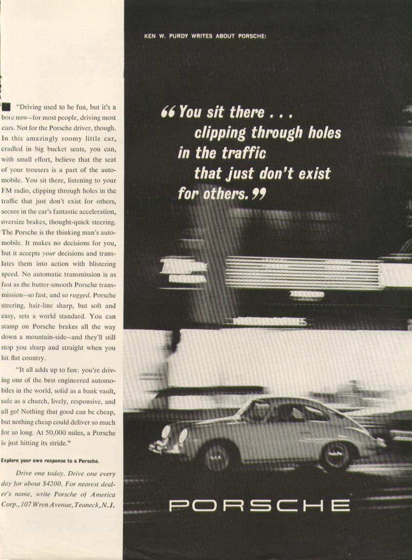 Image for Porsche clipping through holes in traffic ad 1963