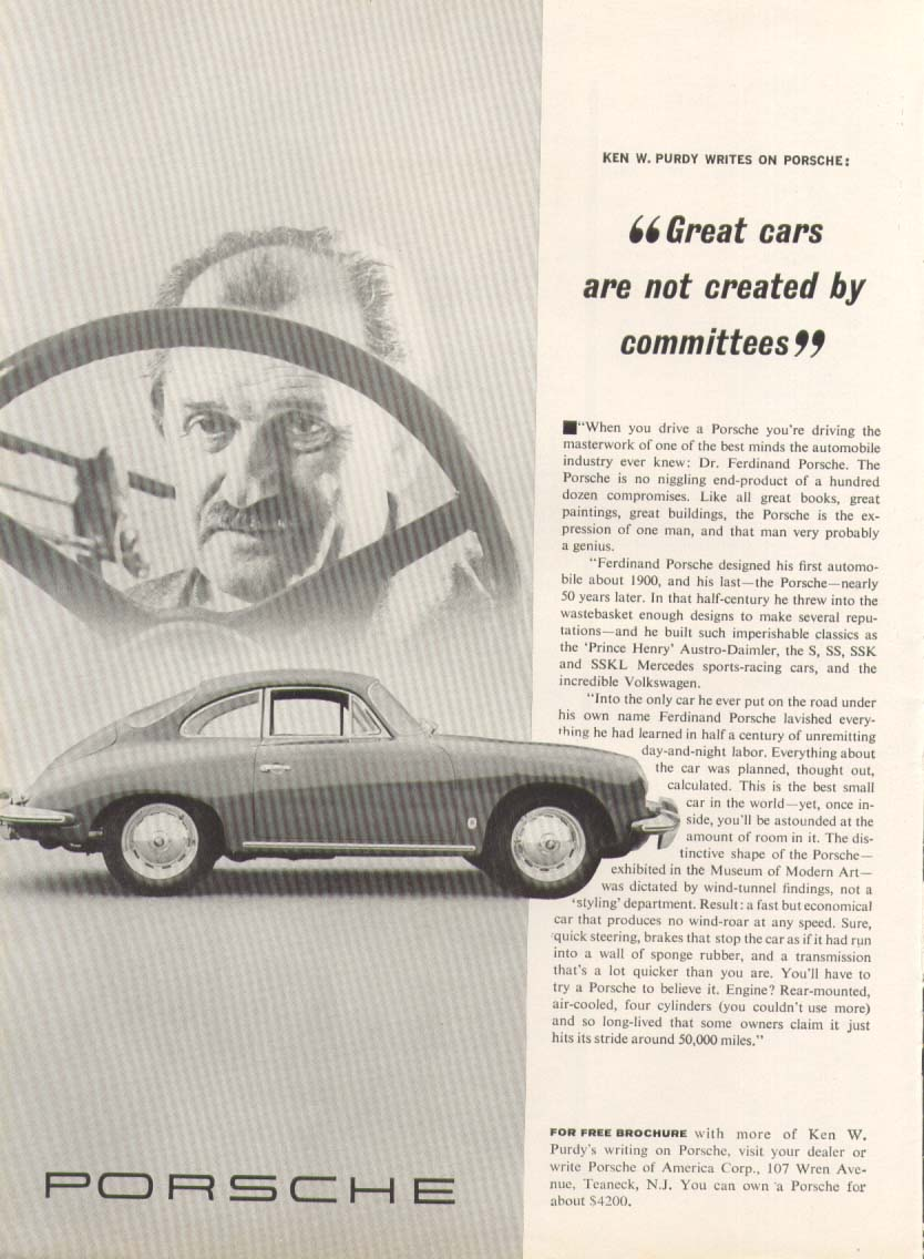 Dr. Ferdinand Porsche not created by committee ad 1963