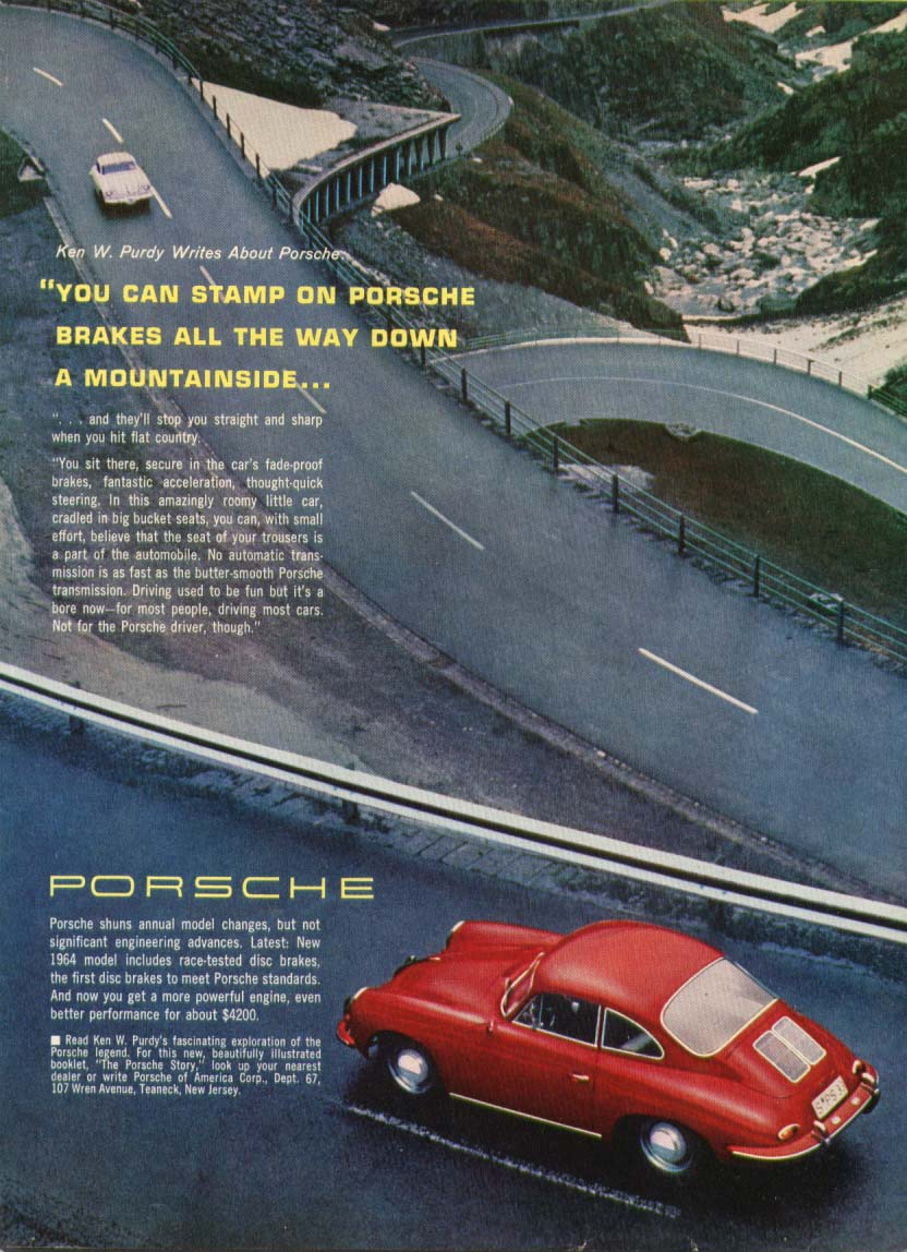 Image for Porsche stamp the brakes all down the mountain ad 1964