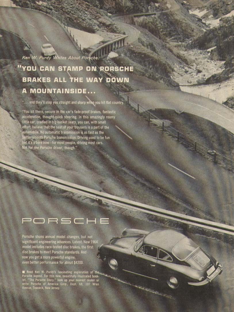 Image for Porsche stamp brakes all down the mountain B/W ad 1964