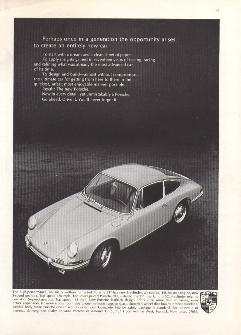 Porsche 911 an entirely new car ad 1966