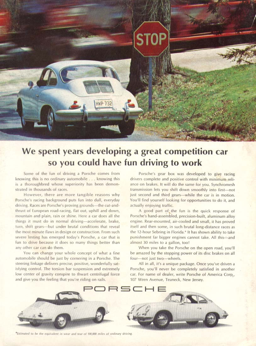 Porsche competition car for fun driving to work ad 1965