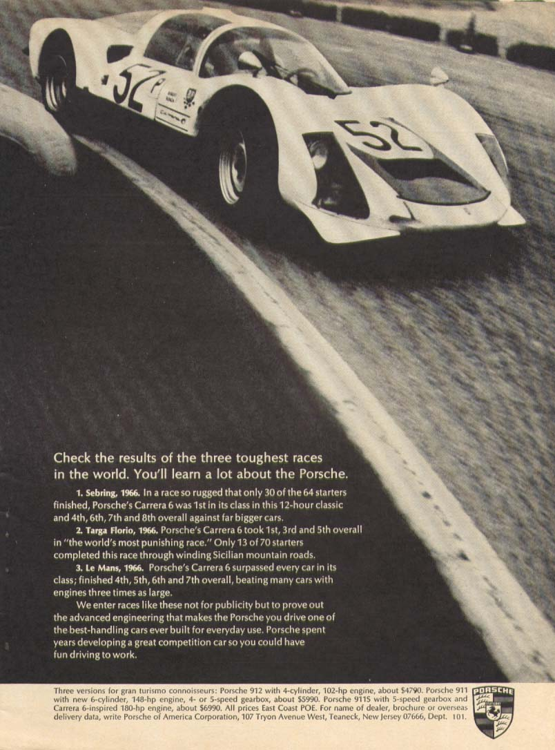 Image for Porsche Carrera 6 toughest races in the world ad 1967