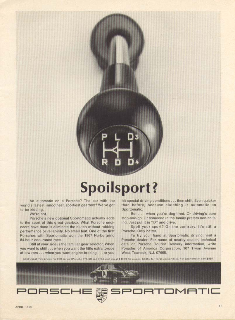 Image for Porsche Spoilsport? Sportomatic transmission ad 1968