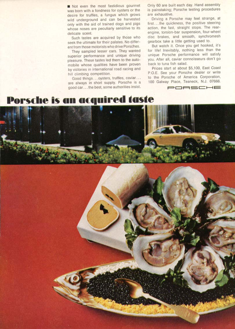 Image for Porsche is an acquired taste 911 ad 1969