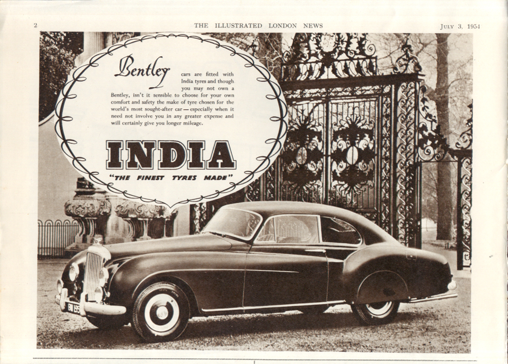 Bentley cars are fitted with India tyres ad 1954
