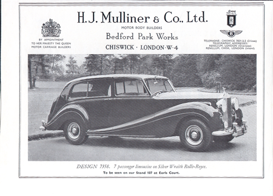 Image for Mulliner limousine Silver Wraith Rolls-Royce ad 1956