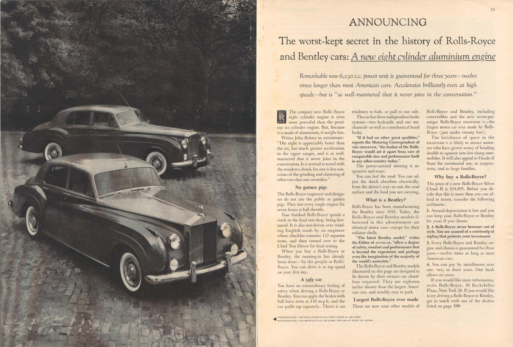 New 8-cylinder aluminum engine Rolls-Royce ad 1959