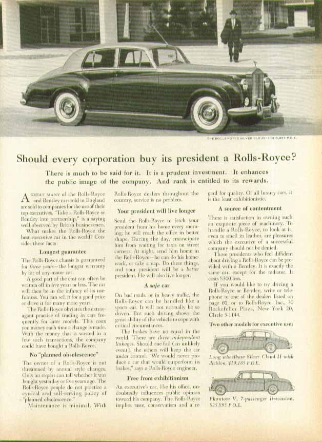 Image for Should every corporation buy its president a Rolls-Royce? Ad 1960