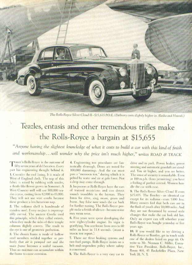 Image for Teazles entasis & other tremendous trifles Rolls-Royce ad 1961