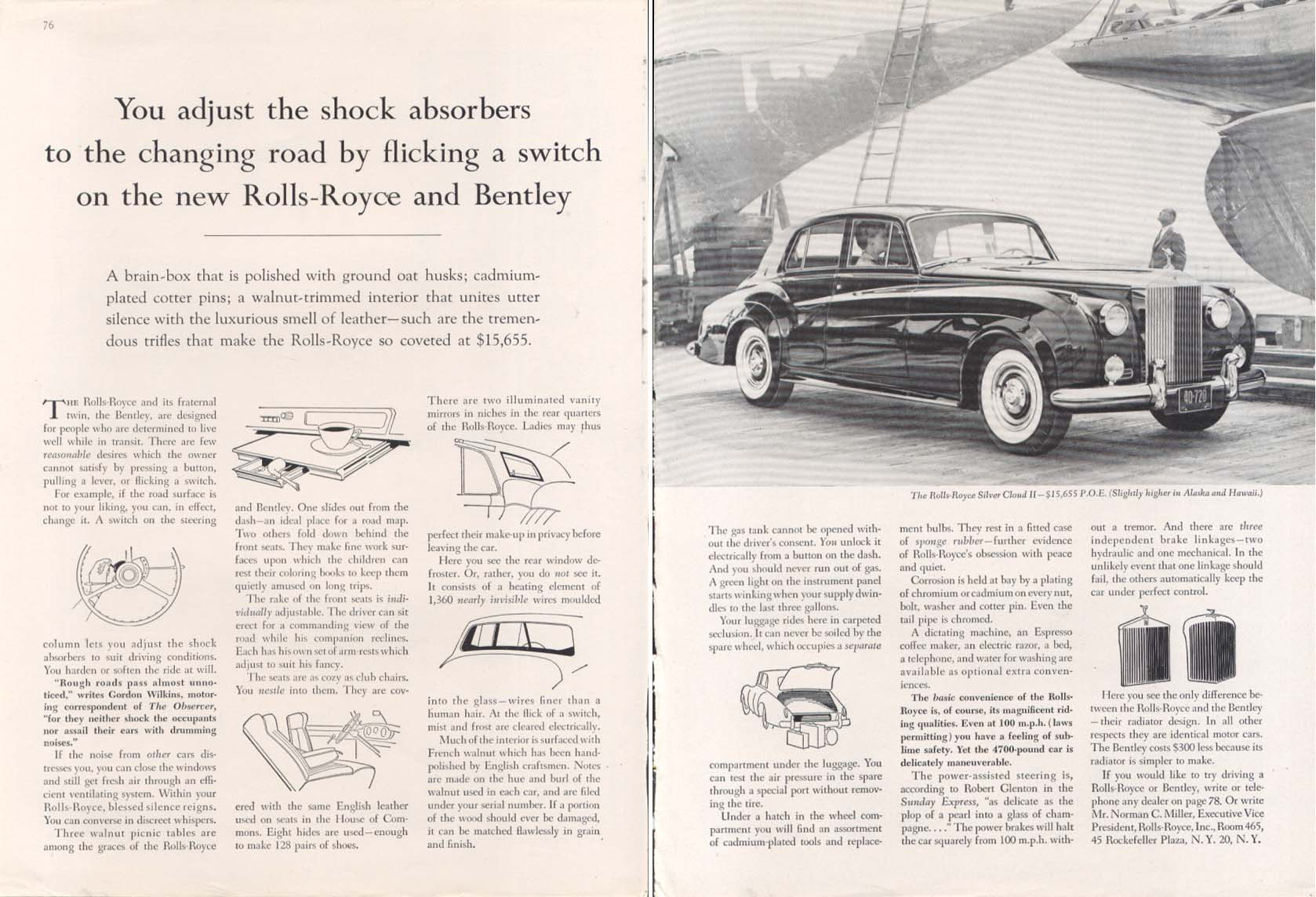 Adjust shock absorbers by flicking Rolls-Royce ad 1962
