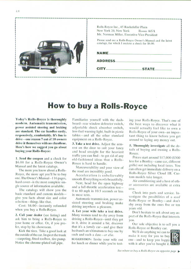 Image for How to buy a Rolls-Royce ad 1964 New Yorker