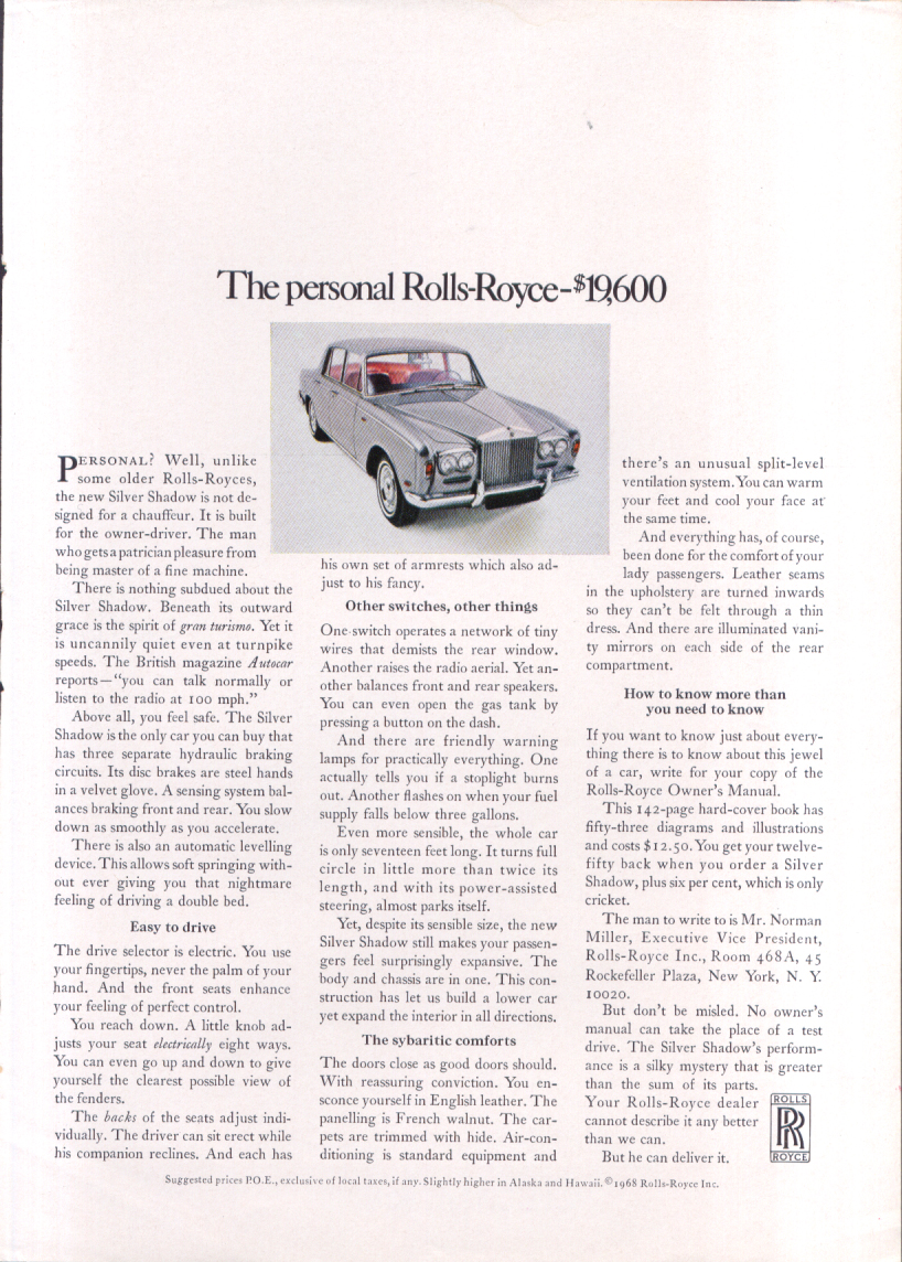 Image for The personal Rolls-Royce $19,600 ad 1968