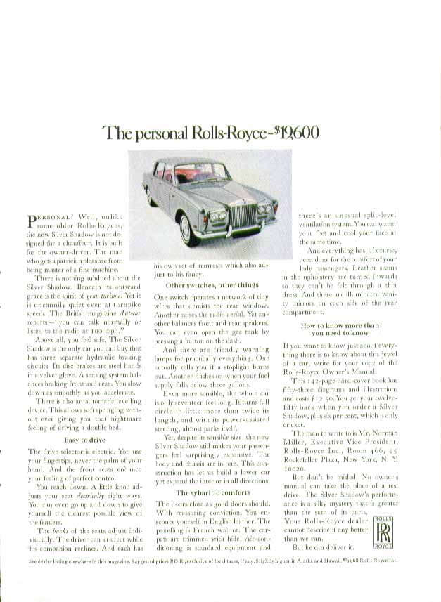 Image for The personal Rolls-Royce - $19,600 ad 1968 1-page version
