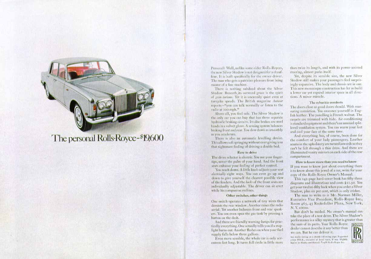 Image for The personal Rolls-Royce - $19,600 ad 1968 2-page version