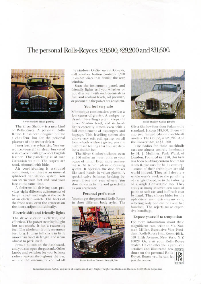 Image for Personal Rolls-Royces $19,600 $29,200 $31,600 ad 1969 1 page