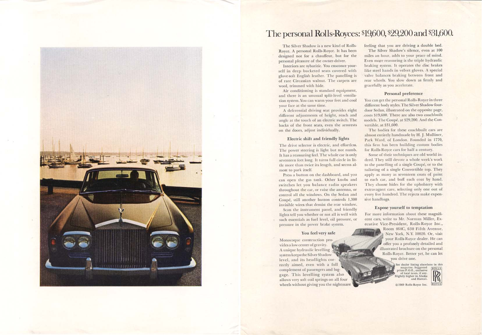 Image for Personal Rolls-Royce $19,600 $22,200 $31,600 ad 1969