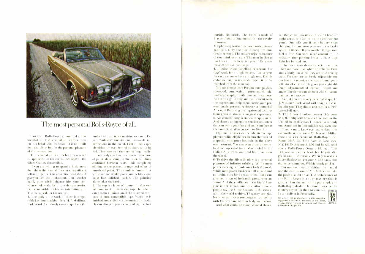 Image for The most personal Rolls-Royce of all ad 1969 Silver Shadow Convertible
