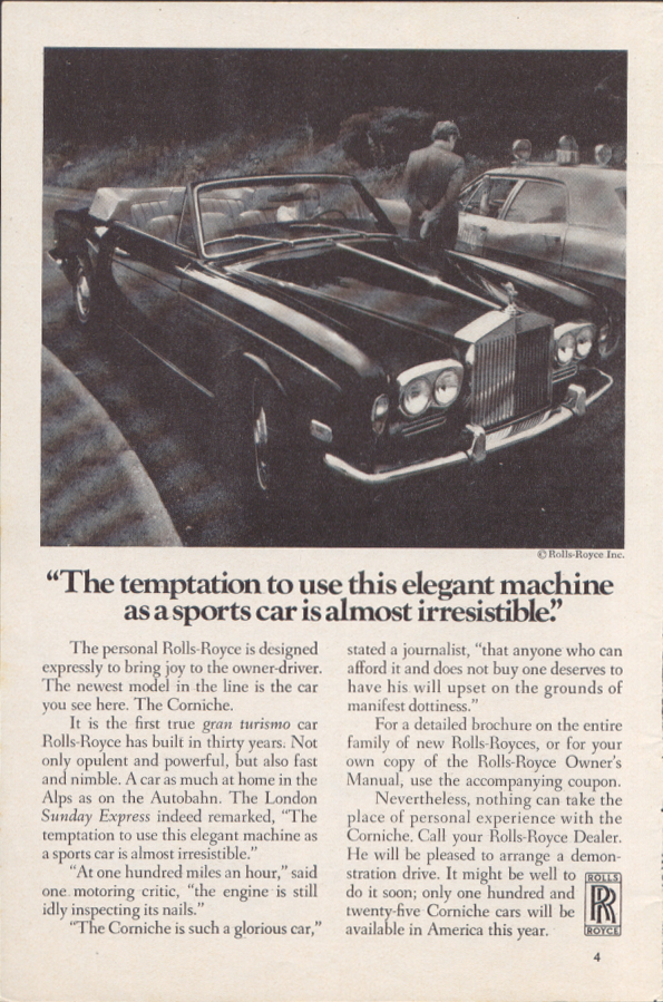 Image for Temptation to use as a sports car Rolls-Royce ad 1972